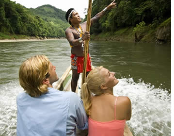 The Embera village is located on the Chagres River and you'll take a boat to get there