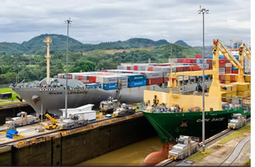 Transit through a set of locks in the Panama Canal